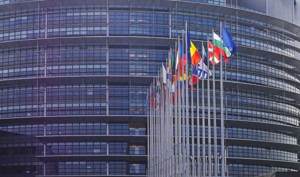 european parliament, strasbourg, flags