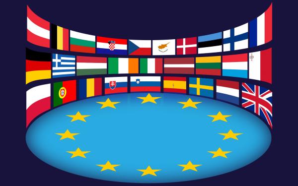 european union, flags, stars
