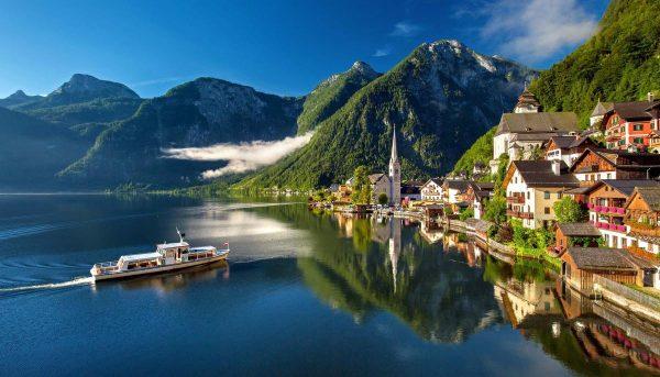 turism, Alpi, hallstatt, austria, bergsee