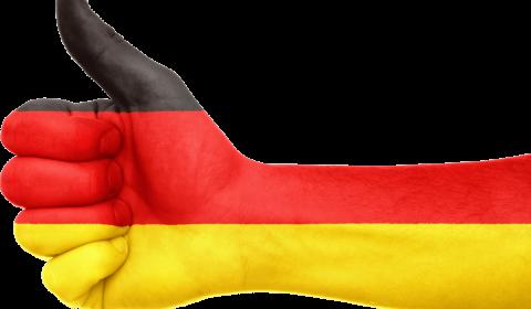 germany, flag, hand
