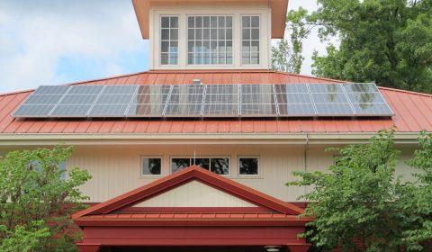 solar panel array, roof, building