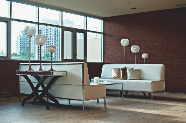 apartment, living room, brick wall
