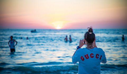 gucci, brand, sunset
