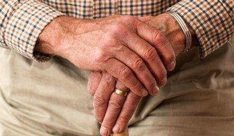 hands, walking stick, elderly