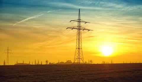 twilight, power lines, evening