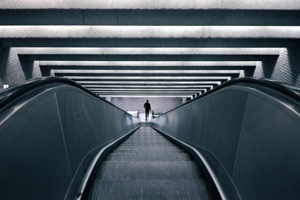escalator, down, building