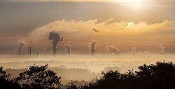 industry, sunrise, fog