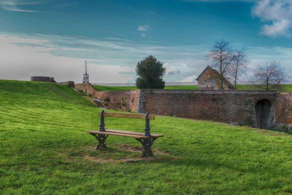 landscape, bench, edge-of-sea