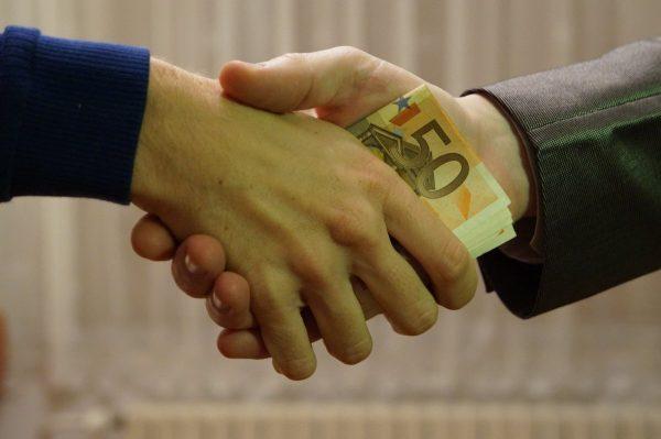euro, bank notes, handshake