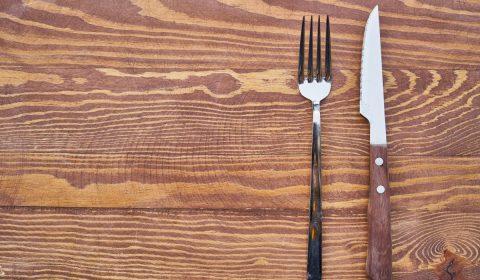 food, fork, knife