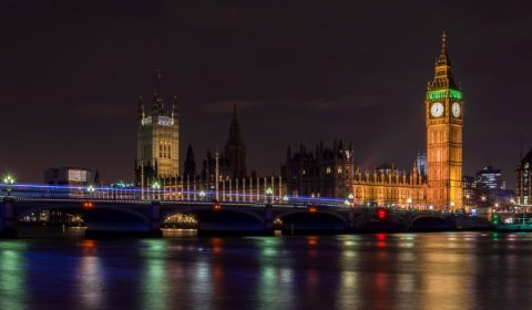 london bridge, night, clock