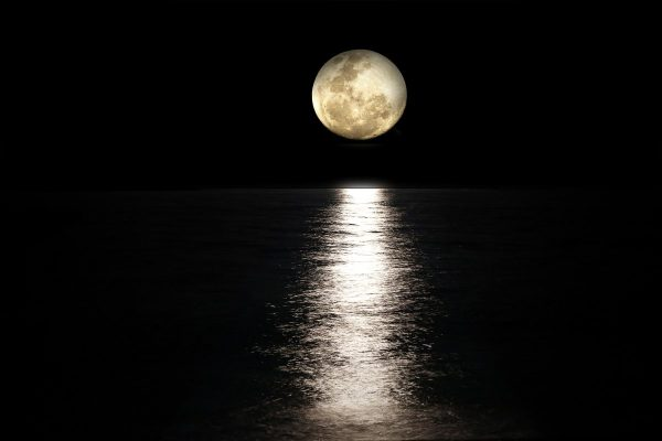 moon, sea, full moon