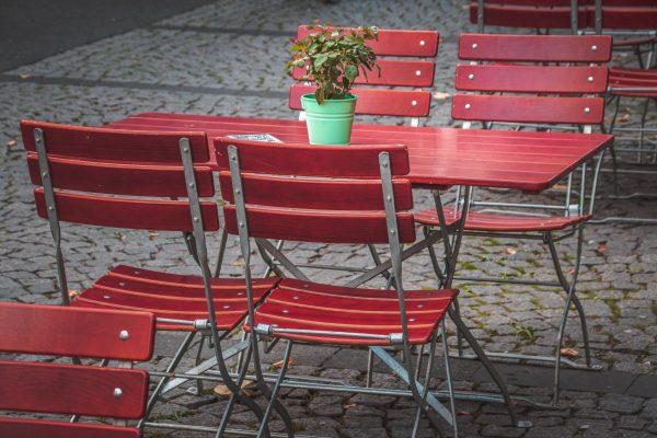 table, chairs, beer garden