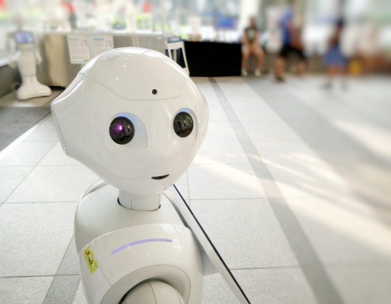 white robot action toy
