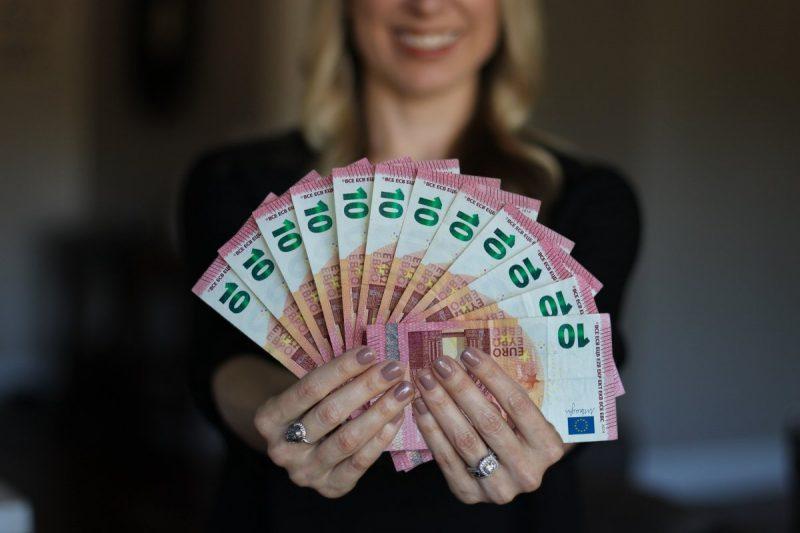 woman, happy, money