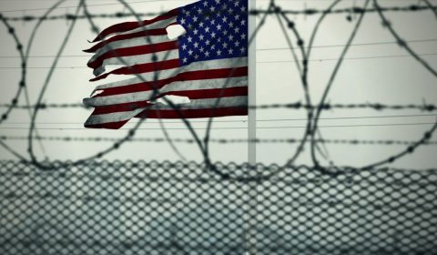 american flag, usa, barded wire