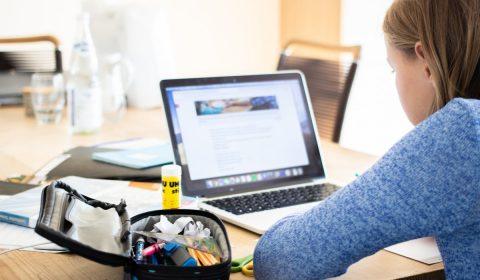 girl, laptop, school supplies