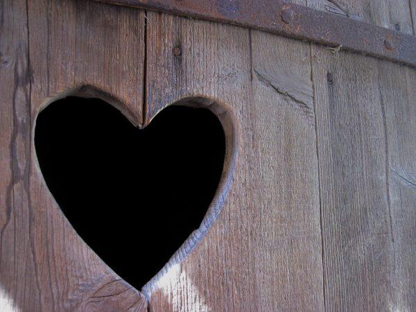 heart, wood, door