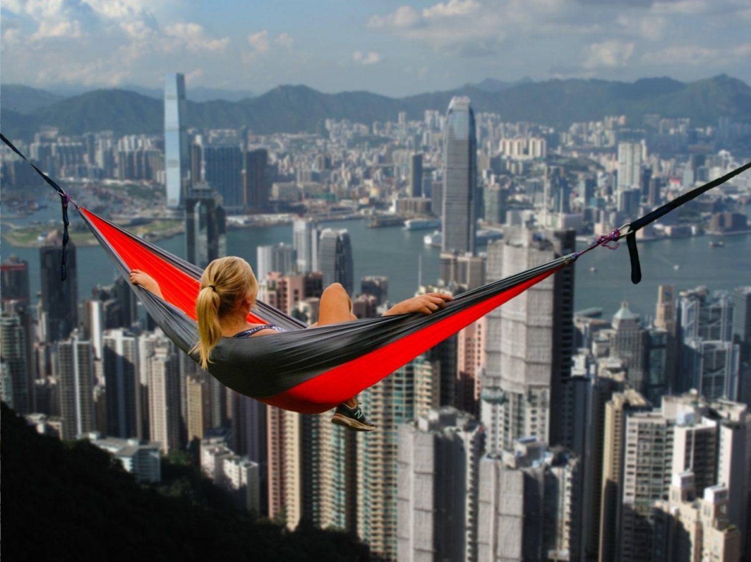 hong kong, hammock, girl