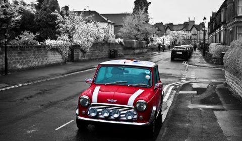 red, car, mini