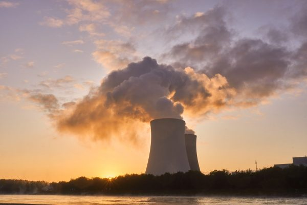 nuclear power plant, cooling tower, sunrise