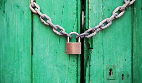 padlock, door, locked