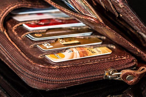 wallet, credit cards, cash