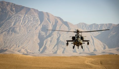 Apache attack helicopter in approach, Sep 2020