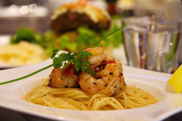 prawn, pasta, food