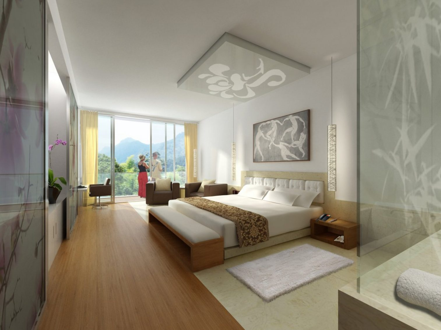interior, hotel, rendering