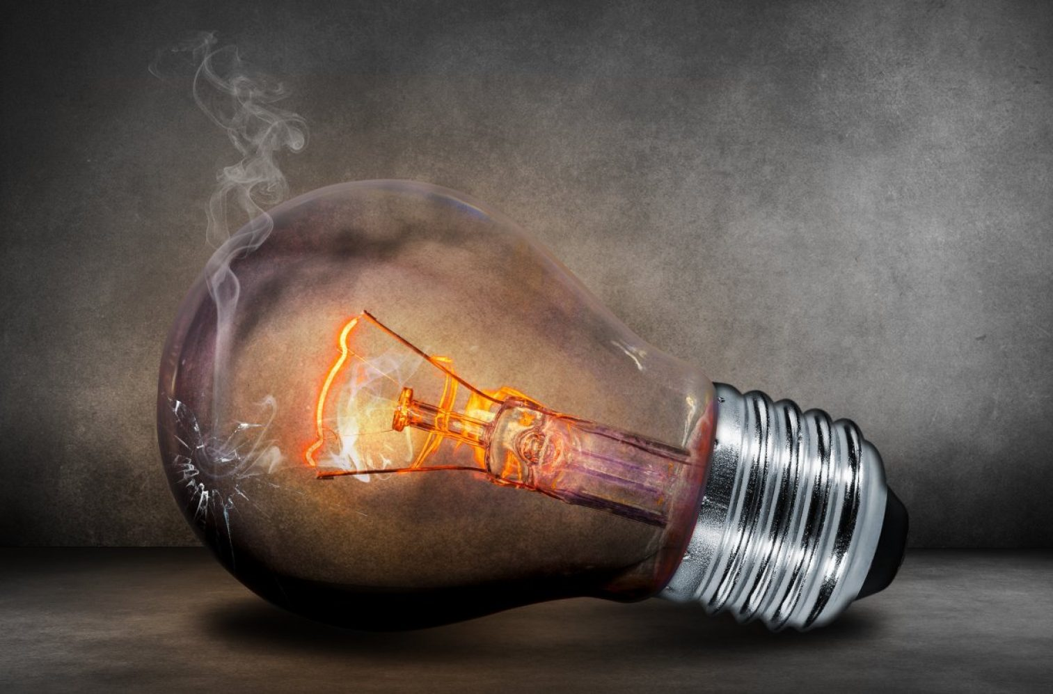 light bulb, incandescent, smoke