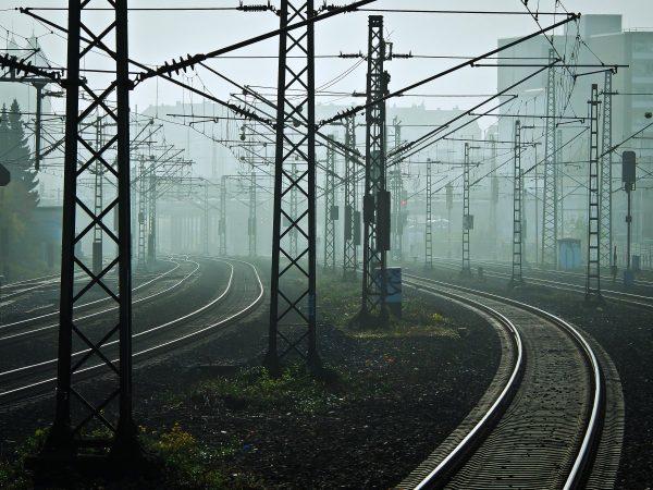 railway, tracks, fog