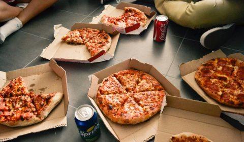 pizza, boxes, soda