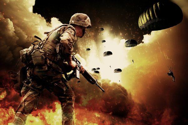 war, soldiers, parachutes