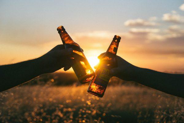 beer, cheers, sunset