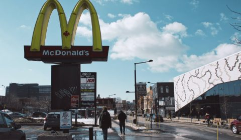 In a society where advertizing is more important than nature. Here you can see how Mc.Donalds manage to make know his location by buying a part of your road.