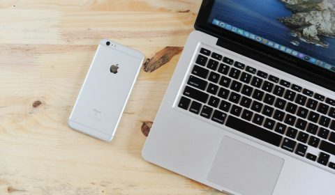 laptop, mobile phone, table