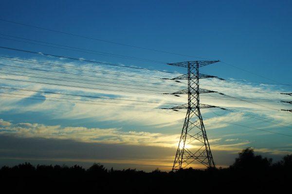 strommast, sunset, electricity pylon