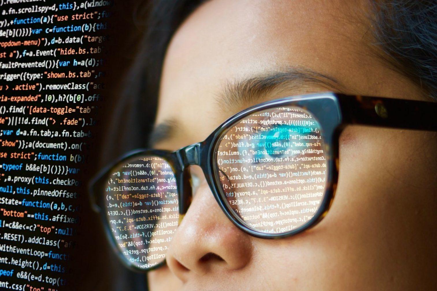 woman, programming, glasses