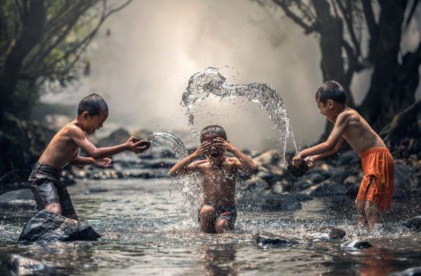 children, river, bathing