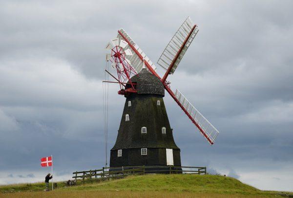wind turbine, denmark, flag
