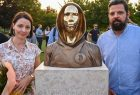 Hungarian Sculptors And Creators Reka Gergely L And Tamas Gilly R Pose Next To The Statue Of Satoshi 1631815966 8108
