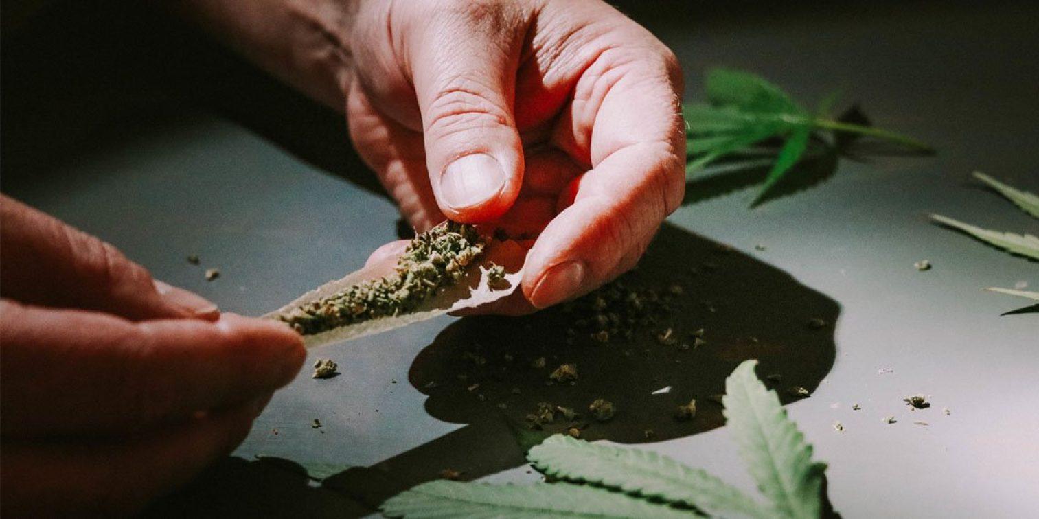 Rolling A Cannabis Marijuana Joint