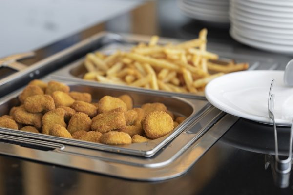 chicken nuggets, nuggets, french fries
