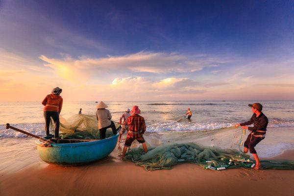 fishermen, beach, boat
