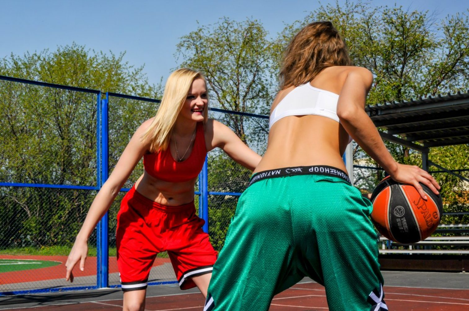 young woman, the park, sports